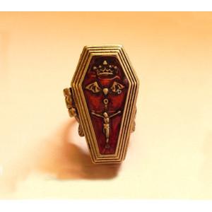 R-0244 New Arrival Vintage Style Silver Bronze Alloy Enamel Crown Bat Cross Jesus Coffin Box Ring