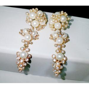 E-3041 Europe Style Gold Plated Alloy White Faux Pearl Clear Rhinestone Flower Dangel Stud Earrings