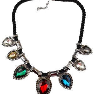 N-3608 Korea Style Black Ribbon Chain Gun Black Alloy Big Drop Crystal Pendant Necklace