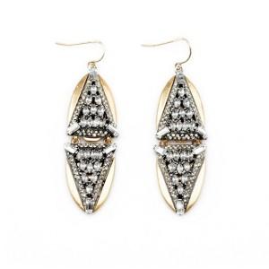E-3043 Europe Vintage Style Bronze Alloy Clear Rhinestone Crystal Triangle Drop Dangel Stud Earrings