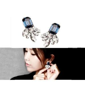 E-3045 Europe Style Silver Plated Alloy Blue Crystal Rhinestone Flower  Leaves Stud Earrings