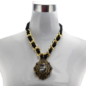 N-3615 Fashion Style Alloy Ribbon Chain Rhinestone Crystal Hollow Out Flower Pendant Necklace