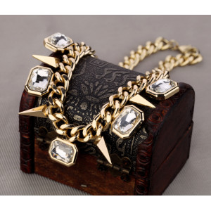 N-1361 Korea Style Gold Plated Alloy Square Crystal Rivets Choker Necklace