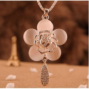 N-0166 Korea Style Gold Plated Alloy Charming Opal Rose Flower Pendant Long Chain  Necklace