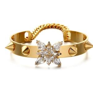 B-0328 New Arrival European  Punk Style Gold Plated Chain Rivets Crystal Flower Cuff Bangel Bracelet