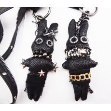 N-3617 Fashion Black Leather Zipper Chain Ribbit Charms Pendant Key Holder Necklace