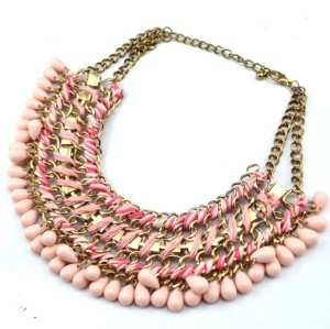 N-3619 Fashion Gold Plated Alloy Double Chain Resin Gem Drop Tassels Choker Necklace
