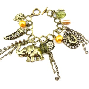 B-0331 European Style Vintage Style Bronze Metal Elephant Sheath Clover Pendant Rhinestone Tassel Bracelet