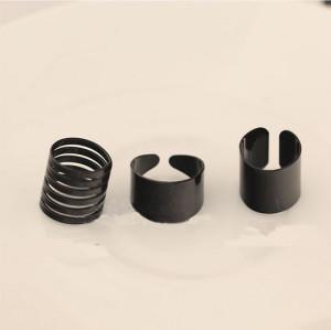 R-1111 Korea Style Black Gold 3Colors 3Pieces Simple Ring Set