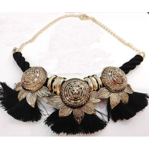 N-3623 Vintage Style Gold Plated Alloy Lion Head Leaves String Tassels Necklace