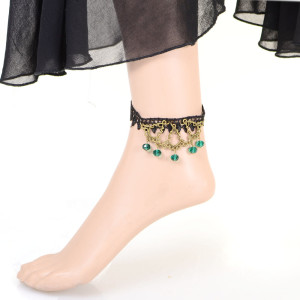B-0339 Gothic Vintage Style Bronze Metal Carving Drop Black Chain Lace Flower Green Man Made Crystal Tassels Anklet