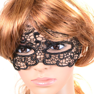 N-1667 New Gothic Black Silk Lace Flower Chain Hollow Out Mask