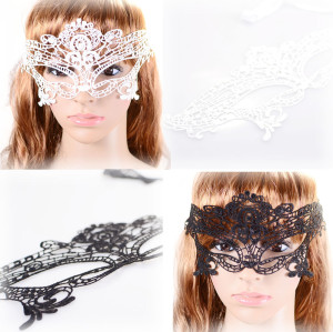 N-1668 New Gothic White Black Silk Needle Lace Chain Hollow Out Flower Leaves Mask