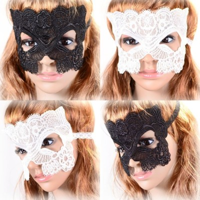 N-1669 New Gothic White Black Silk Needle Lace Chain Hollow Out Flower Mask For Masked Ball