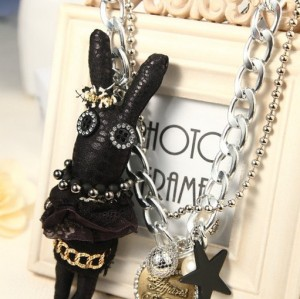 N-3625 New European Style Silver Plated CCB Link Chain Pear Star Rhinestone Letter Heart Cute Rabbit Pendant Necklace