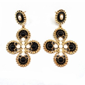 E-0303 Korea Style Gold Plated Alloy Resin Gem Enamel Flower Stud Dangel Earrings