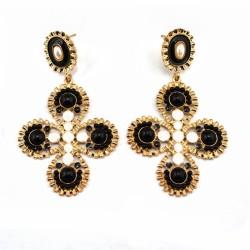 E-0303 Korea Style Gold Plated Alloy Resin Gem Enamel Flower Stud Dangel Earrings