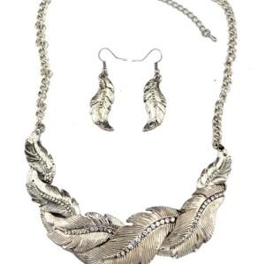 N-1904 New Vintage Style Feather Shape Rhinestone Pendant Necklace Earring Set