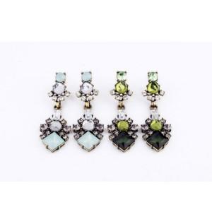 E-3054 European Style Bronze Alloy  Rhinestone Crystal Flower Stud Dangel Earrings