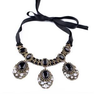 N-3627 New Vintage Style Bronze Alloy Silk Chain Black Crystal Rhinestone Pearl Flower Pendant Necklace