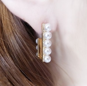 E-0699 Korea Style Gold Silver Plated Alloy White Plear Geometry Stud Earrings