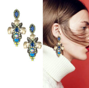 E-3061  European Vintage Style Bronze Alloy Clear Blue 2Colors Crystal Rhinestone Flower Earring