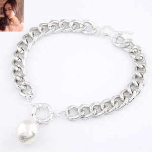 N-3633 New Korea Style 3Colors CCB Link Chain Big Clasp Pearl Pendant Necklace