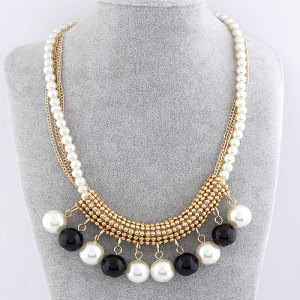 N-3620 Fashion charms Gold Plated Alloy Multilayer Chains Pearl Tassels Choker Necklace