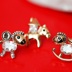 E-3057  European Style Gold Plated Alloy Crystal Rhinestone Horse Stud Earrings 5Style