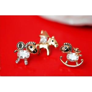 E-3057  European Style Gold Plated Alloy Crystal Rhinestone Horse Stud Earrings 5Style