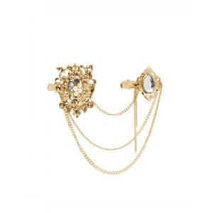 F-0132 European Gold Plated tassels Pearl Rhinestone Crystal Crown Flower Hair Clip