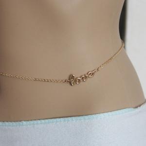 N-4041 Fashion Gold Plated Alloy bikini Love Letter Waist Chain Body Chain