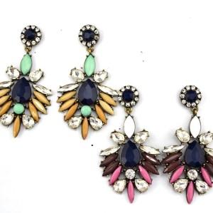 E-3060  European Style Bronze Alloy Drop Resin Gem Crystal Rhinestone Flower Stud Earrings