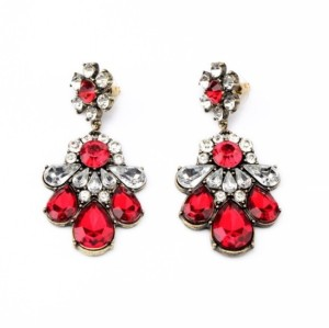 E-3059  European Style Bronze Alloy Drop Resin Gem Crystal Rhinestone Flower Stud Earrings