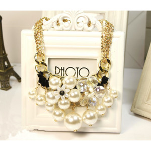 N-3751  Fashion Style Multilayer Chains Crystal Pearl Flower Tassels Necklace