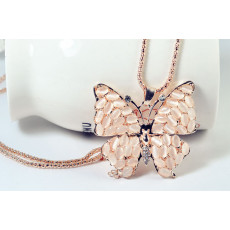 N-2614  Fashion Style Gold Plated Chain Rhinestone Opal Gem Butterfly Pendant Necklace