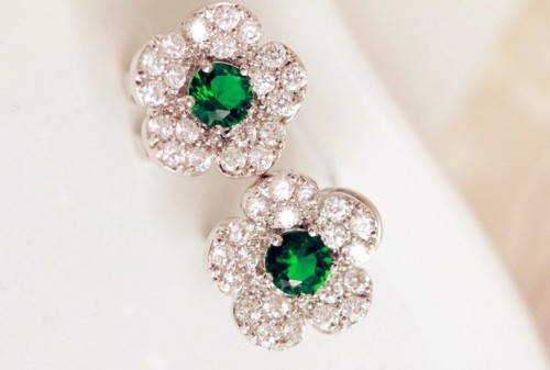 E-3068 Korea Style Silver Plated Alloy Clear Rhinestone Crystal Flower Stus Earrings