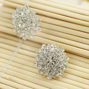 E-3070 Korea Style Gold Silver Plated Alloy Clear Rhinestone Flower Studs Earrings