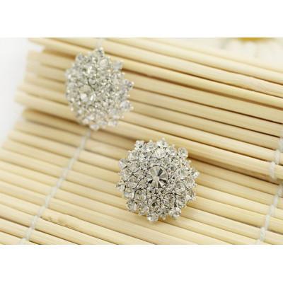 E-3070 Korea Style Gold Silver Plated Alloy Clear Rhinestone Flower Studs Earrings