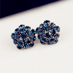 E-3065 Korea Style Gold Plated Alloy Royalblue Rhinestone Flower Studs Earrings