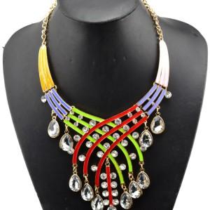 N-3758 European Style Gold Plated Alloy Enamel Rainbow Drop Crystal Choker Necklace