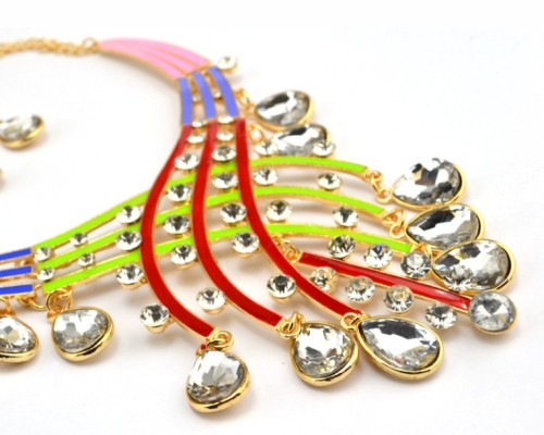 N-3758 European Style Gold Plated Alloy Enamel Rainbow Drop Crystal Choker Necklace
