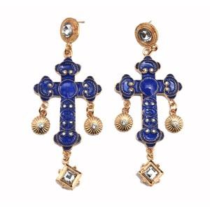 E-3073 European Fashion Gold Plated Metal Enamel Cross Square Crystal Flower Dangle Earrings