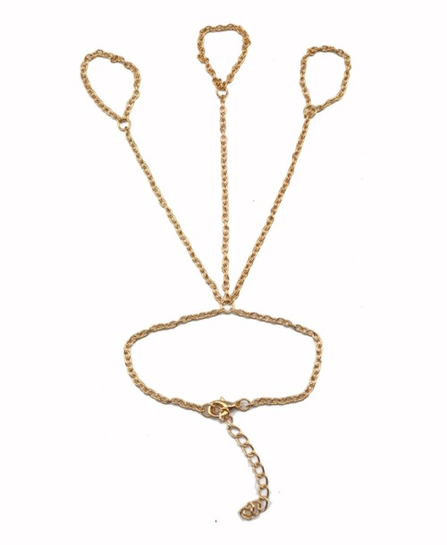 B-0340 Fashion  European Gold Plated Metal Chain Simple 3Rings Chain Bracelet