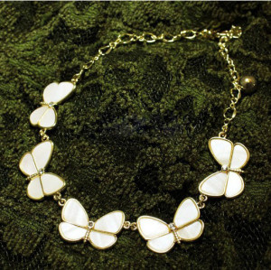 N-2615 European Style Gold Plated Metal Delicate Shell White Butterfly Choker Necklace
