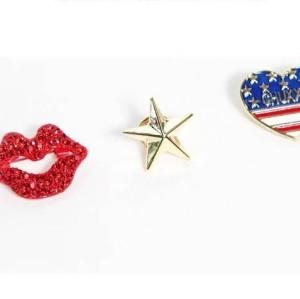 New European Fashion Heart Lip Star Set  Brooch Pin P-0026