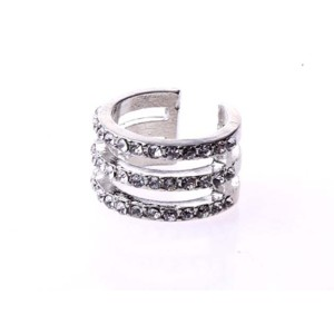 R-1116 Korea Style Gold Silver Plated Simple 3Rows Rhinestone Hollow Out Ring