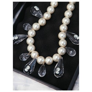N-3764 Europe Style Big White Pearl Chain Crystal Drop Tassels Carving Queens Choker Necklace