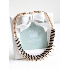N-3763 European Style Gold Plated Snake Chain Leather Rhinestone Rivets Necklace
