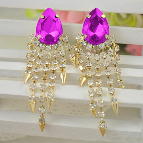 E-3063  European Style Gold Plated Alloy Blue Drop Crystal Rhinestone Rivets Tassels Dangel Earring